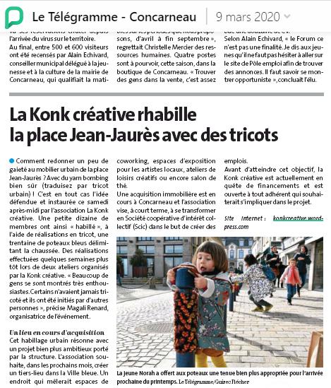 Le Télégramme Concarneau - 9 mars 2020 - La Konk Créative rhabille la place Jean Jaurès avec des tricots