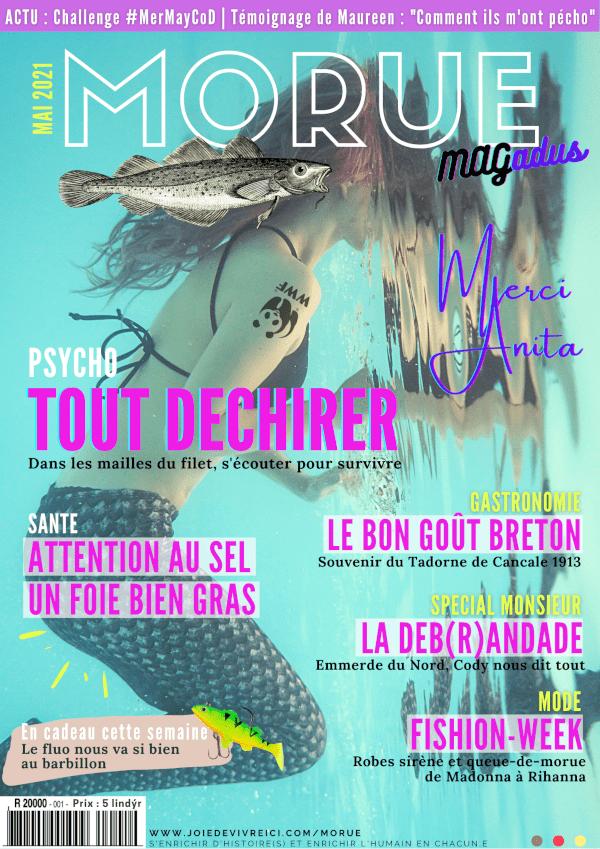 Morue Mag, magazine parodique réalisé par Delphine Guglielmini dans le cadre de l'action culturelle Morue! co-créée par Joie de Vivre Ici et La Konk Créative