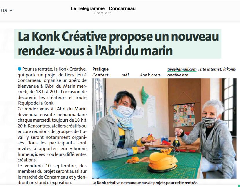 La Konk Créative propose un nouveau rendez-vous à l'Abri du marin - Le Télégramme Concarneau - 6 septembre 2021